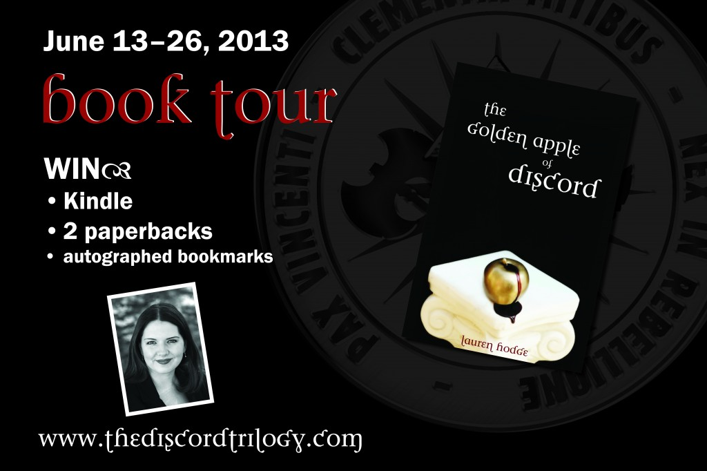 blog tour poster The Golden Apple of Discord Book Blast: Kindle Giveaway