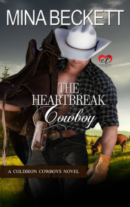 Book Cover for Western romance novel The Heartbreak Cowboy by Mina Beckett.